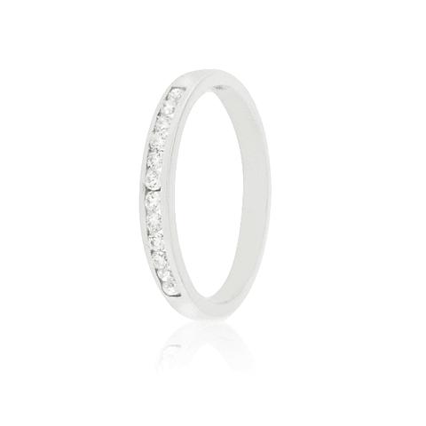 Anillo Oro Blanco 18kt Diamantes Riel