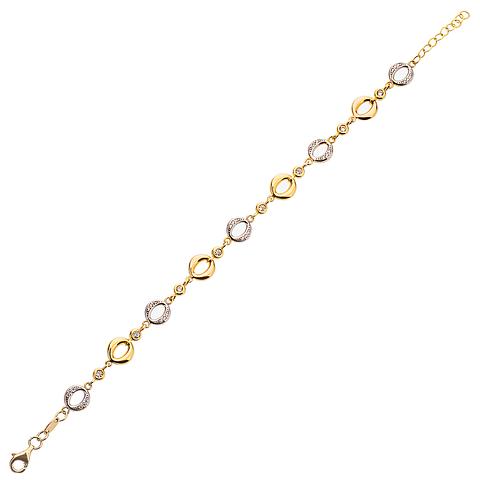 Pulsera de Oro 18 Kt., Tricolor con Circón.