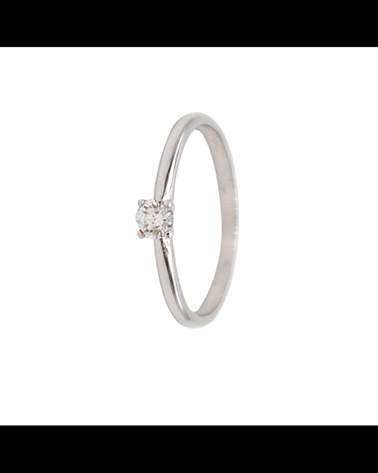 Anillo Oro Blanco 18kt Solitario Diamante