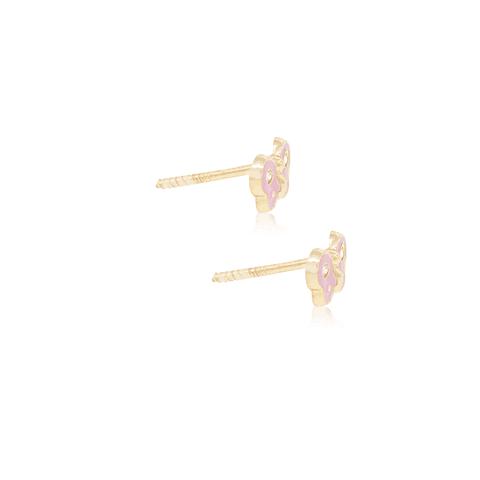 Aros Oro 18kt Mariposa Esmaltada Circon