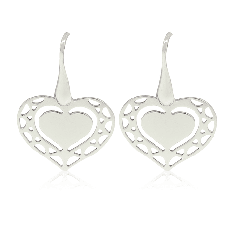 Aros De Plata Italiana 925 Doble Corazon