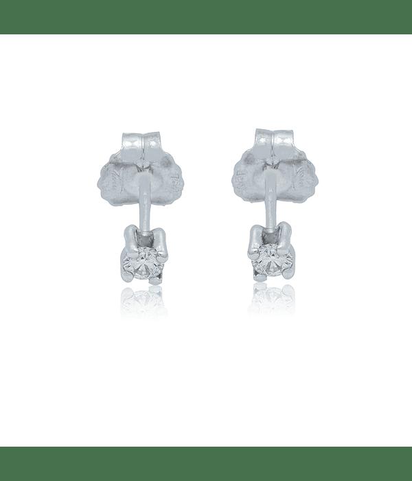 Aros Oro Blanco 18kt Diamantes, 16ptos
