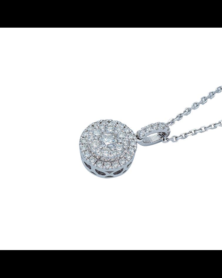 Collar de Diamante Oro Blanco de 18 Kt. Modelo circulo