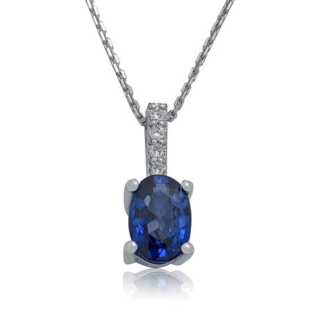 Collar de Diamante Oro Blanco de 18 Kt. Modelo Diamantes con Zafiro Natural