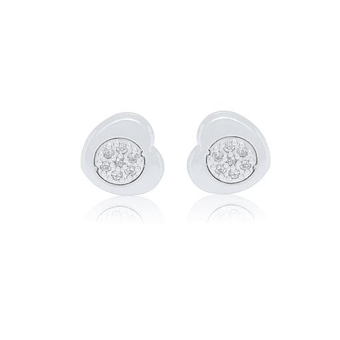 Aro de Diamantes Oro Blanco 18 Kt. Modelo Corazon 7 Ptos