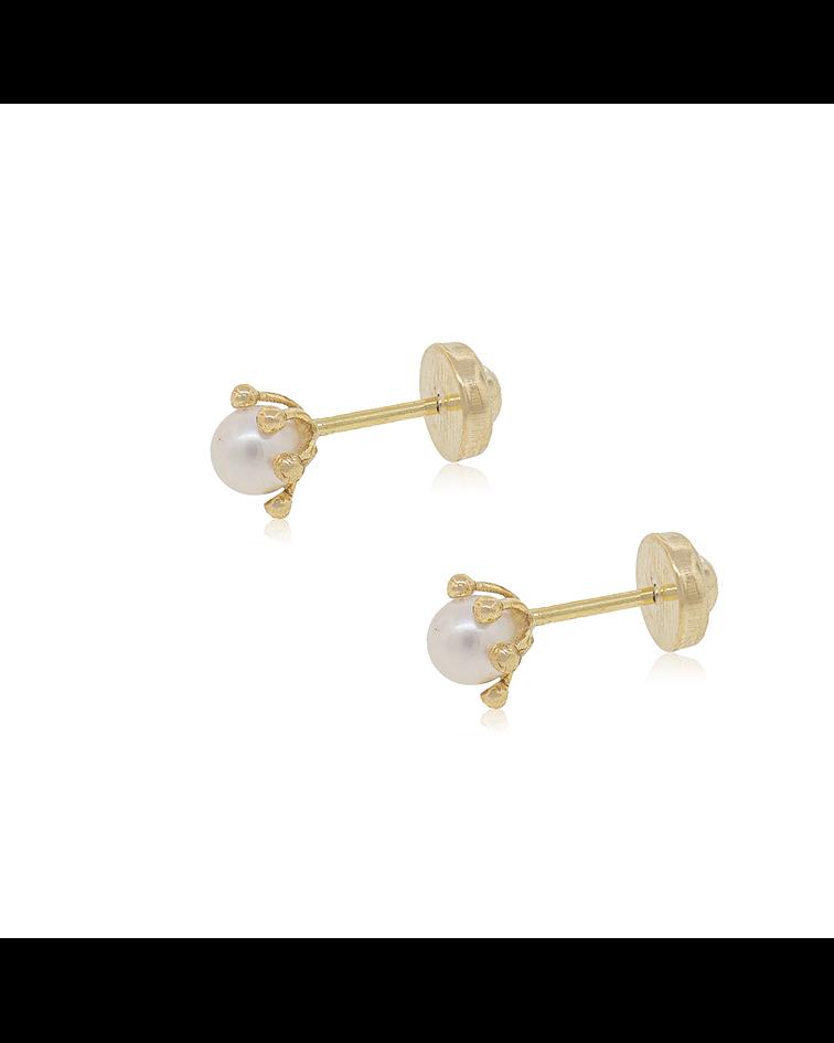 Aro  Oro 18kts perla cultivada modelo Pistilo 3.0mm / 4.0mm, Abridor.