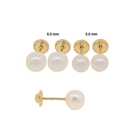 Aro oro 18kt Perla cultivada sola 5.0mm-6.0mm