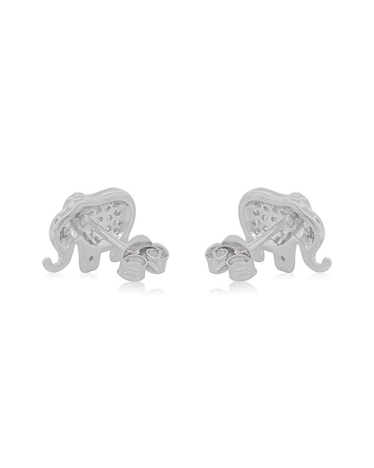 Aros De Plata Italiana 925 Elefante circón
