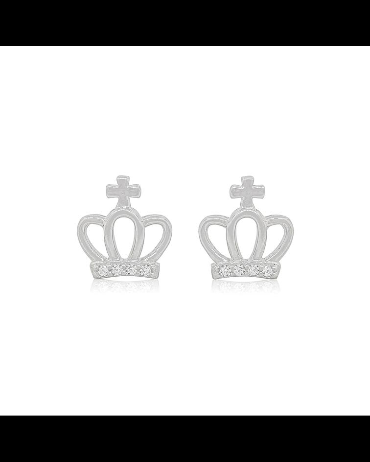 Aros De Plata Italiana 925 Corona Cruz circones.