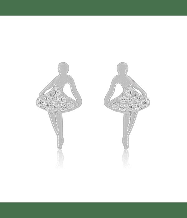 Aros De Plata Italiana 925  Bailarina Ballet Circones
