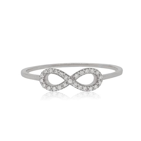Anillo Oro Blanco 18kt con Diamantes Infinito