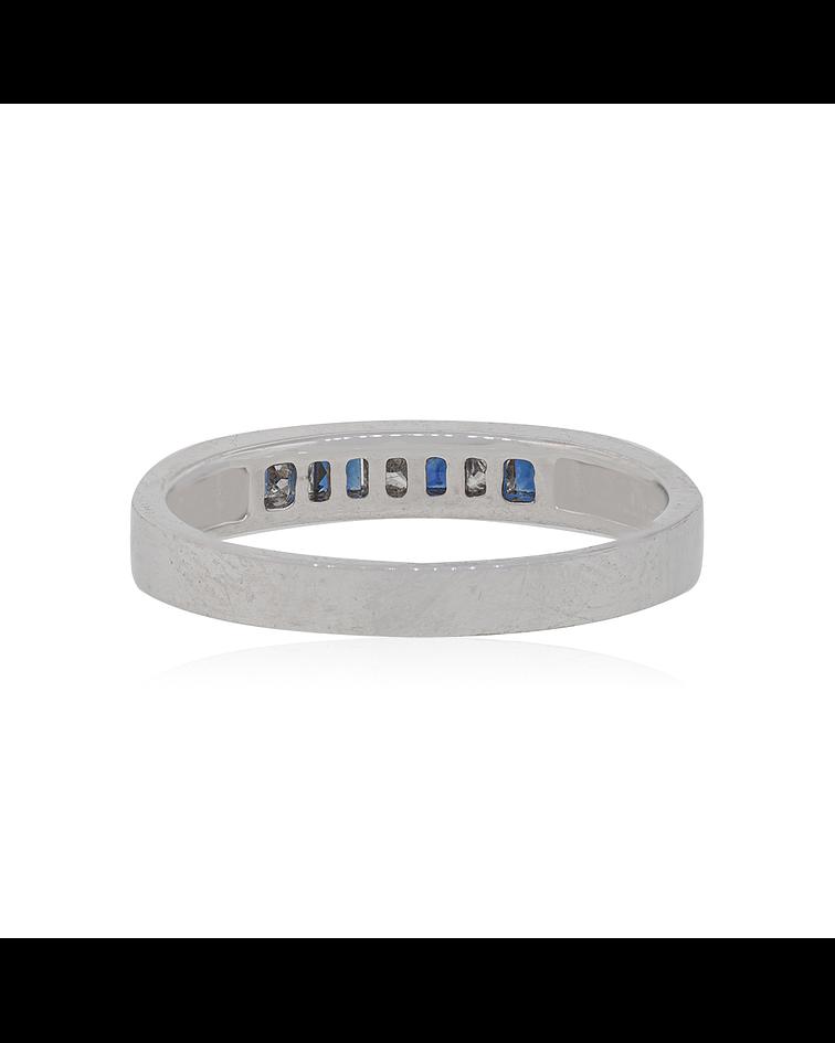 Anillo Oro Blanco 18kt con diamantes 1/2 cintillo con Zafiros Naturales