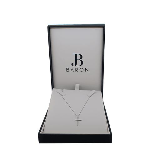 Collar de Diamante Oro Blanco de 18 Kt. Modelo Cruz