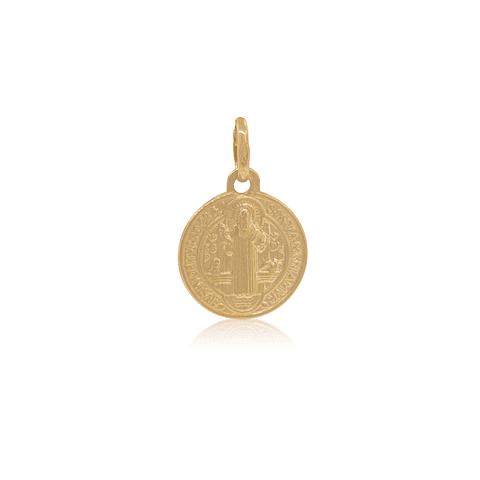 Colgante Oro 18kt . San Benito Monje Medalla 12mm
