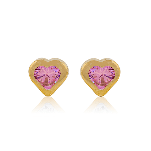 Aros Oro 18kt Corazón  Rosa de Francia