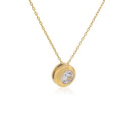Collar Oro 18kt Circon Punto de Luz 4mm
