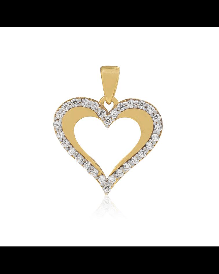Colgante de Oro de 18 Kt Corazón  Circon