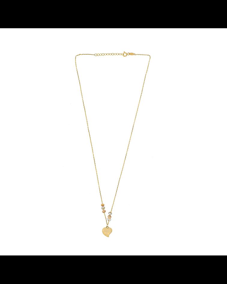 collar Oro 18kt . Modelo Corazon Argollas Tricolor