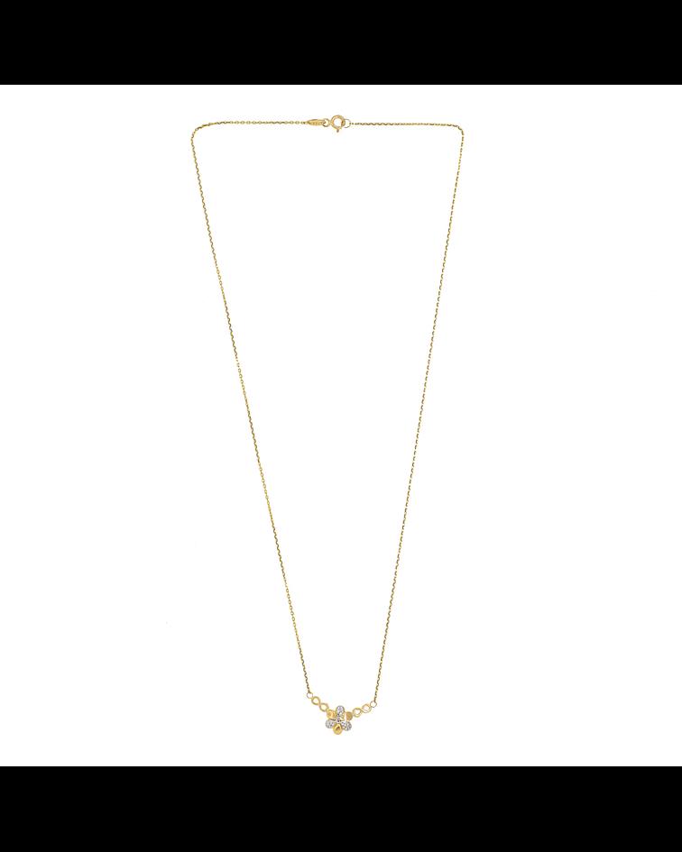 collar Oro 18kt . Modelo Flor Bicolor