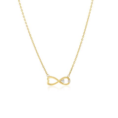 Collar Oro 18kt . Modelo Infinito Circon/Corazón