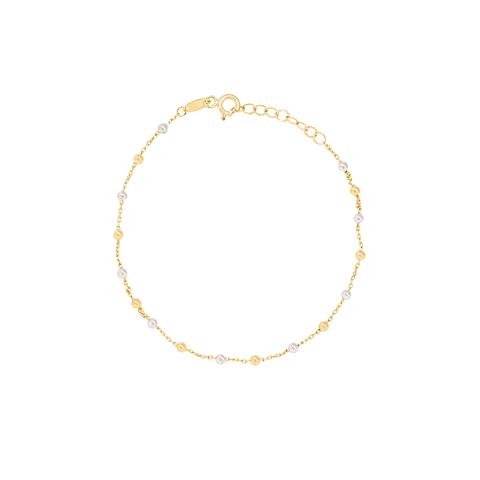 Pulsera Oro 18kt Modelo Bolitas  Bicolor