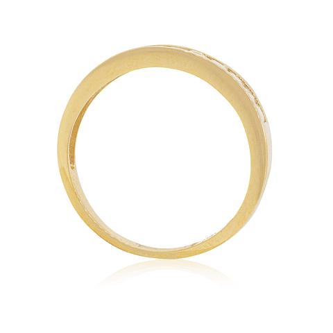 Anillo Oro 18kt Circón corte Princesa en Riel
