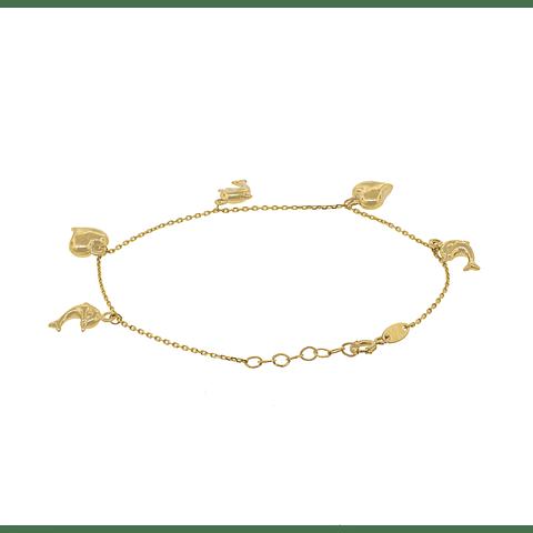 Pulsera Oro 18kt Modelo Corazón y Delfín