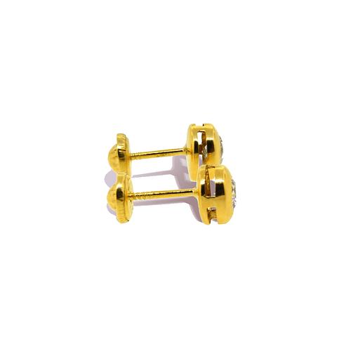 Aros Oro 18kt Con Circón 3,5mm Punto De Luz.