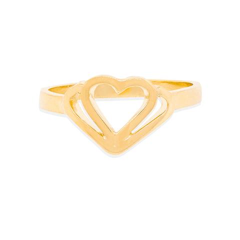 Anillo Oro 18kt Doble Corazón
