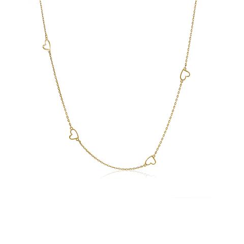 Collar Oro 18kt Corazones Colgantes.