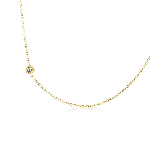 • Collar de Oro 18kt modelo Punto de Luz Circon.