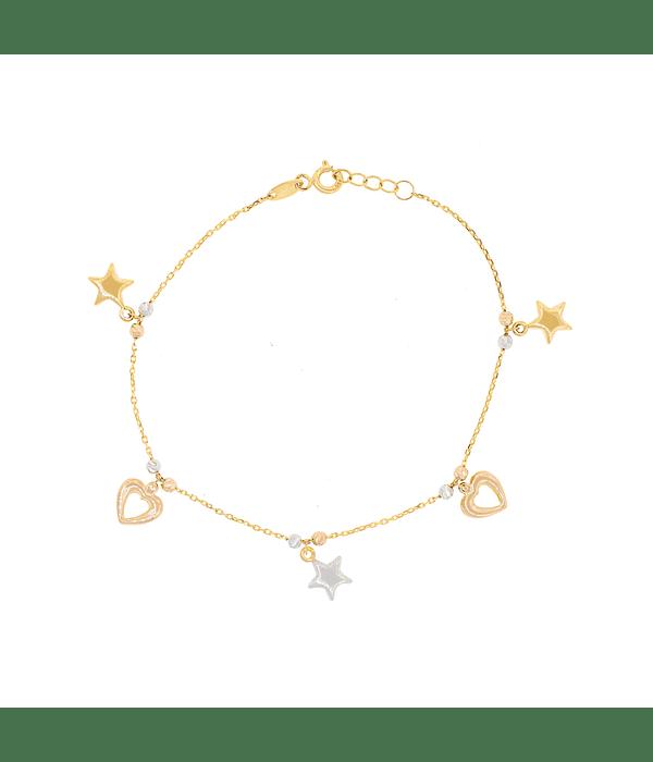 Pulsera Oro 18kt Corazón y Estrella  Tricolor.