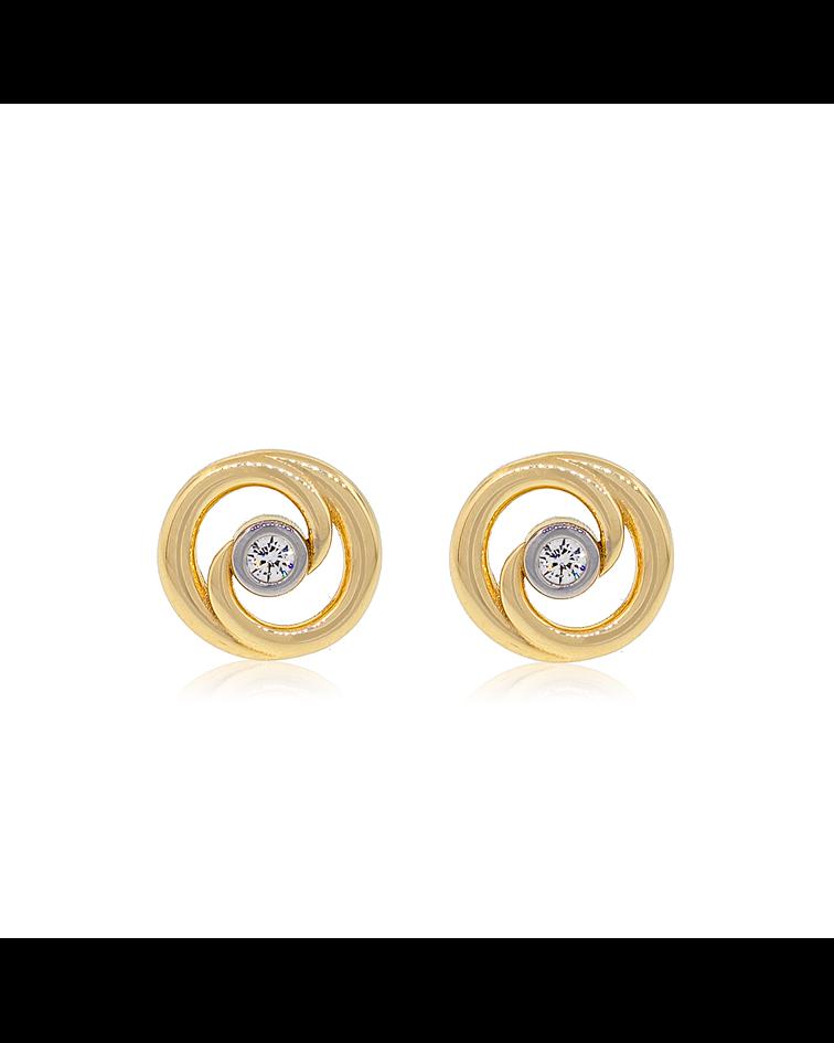 Aros de Oro 18kt Modelo Espiral Bicolor Circón.