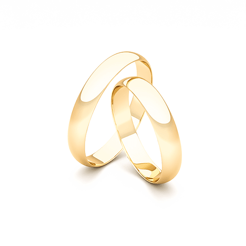 Argollas Oro 18KT Modelo Media Caña 3mm Oro Amarillo