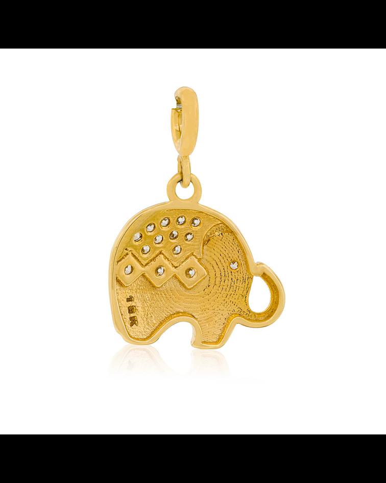 Colgante Oro 18kt  Elefante circón