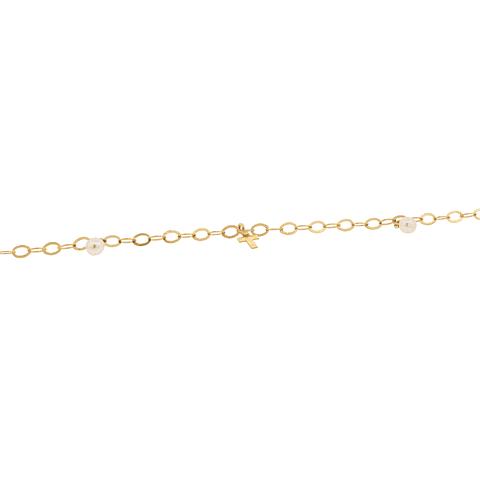 Pulsera Oro 18kt Cruz y Perlas cultivadas