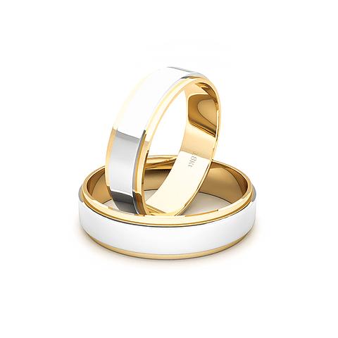 Argollas Oro 18kt Bicolor Daen Ingles 5,0mm Oro Amarillo