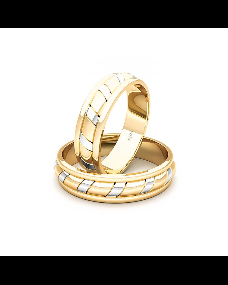 Argollas Oro 18kt Bicolor King Ingles 5,0mm Oro Amarillo