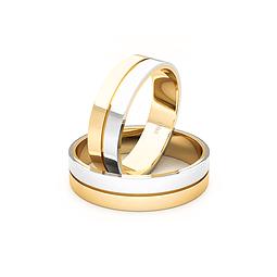 Argollas Oro 18kt Bicolor Saffy Tubo 5,5mm Oro Amarillo