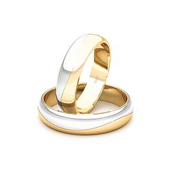 Argollas Oro 18kt Bicolor Lumina Ingles 4,5mm Oro Amarillo