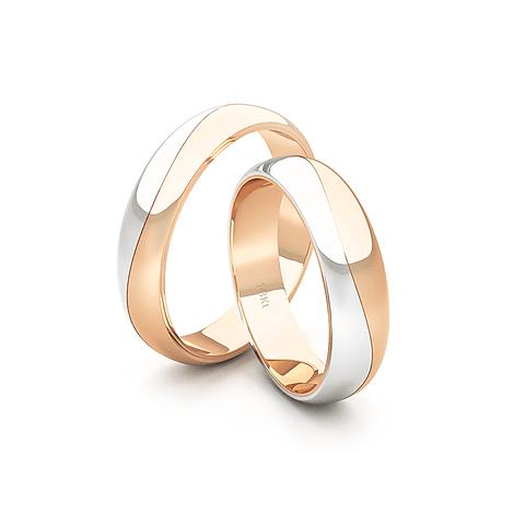 Argollas Oro 18kt Bicolor Lumina Ingles 4,5mm Oro Rosa Miel