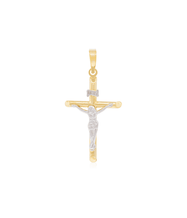 Colgante Oro 18kt Cruz Bicolor