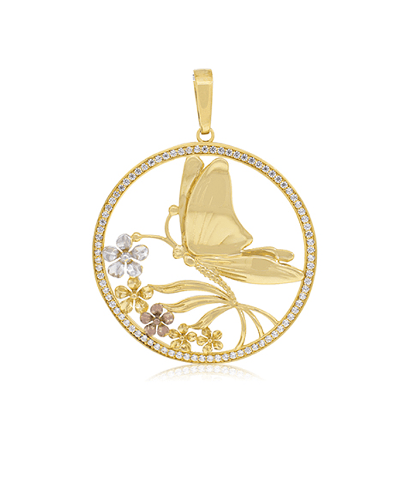 Colgante Oro 18kt  Mariposa Tricolor Circón