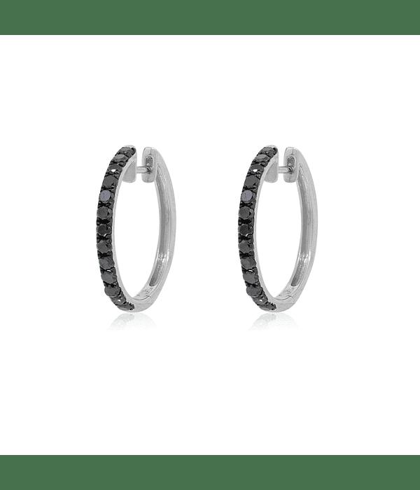 Aros Oro Blanco 18kt Diamantes Negros.