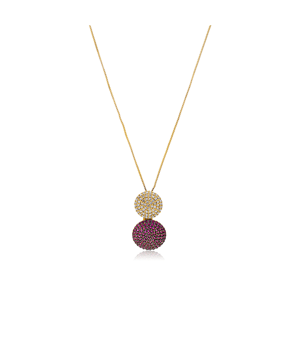 Collar Oro Amarillo  18kt Diamantes y Rubí