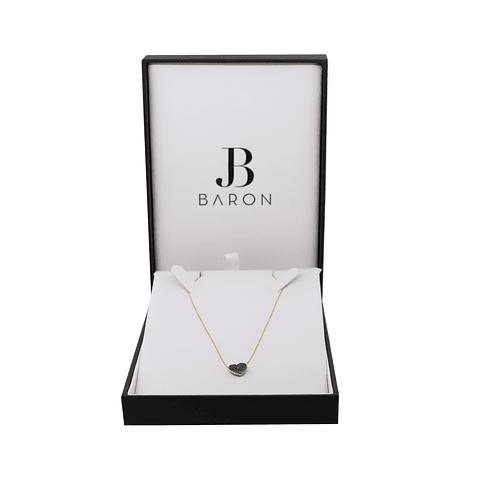 Collar Oro Amarillo 18kt  Corazón Diamantes y Rubí.