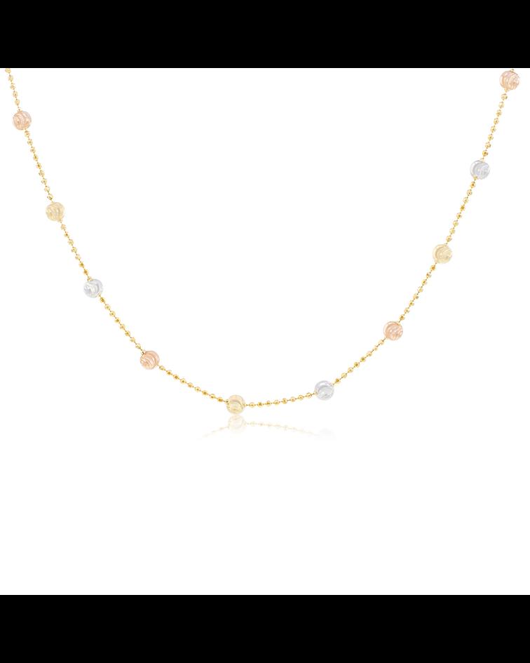 Collar Oro 18kt Bolita Tricolor