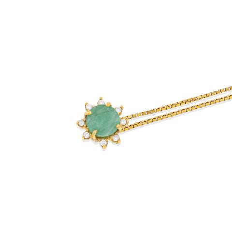 Collar Oro  18kt Diamantes y Esmeralda.