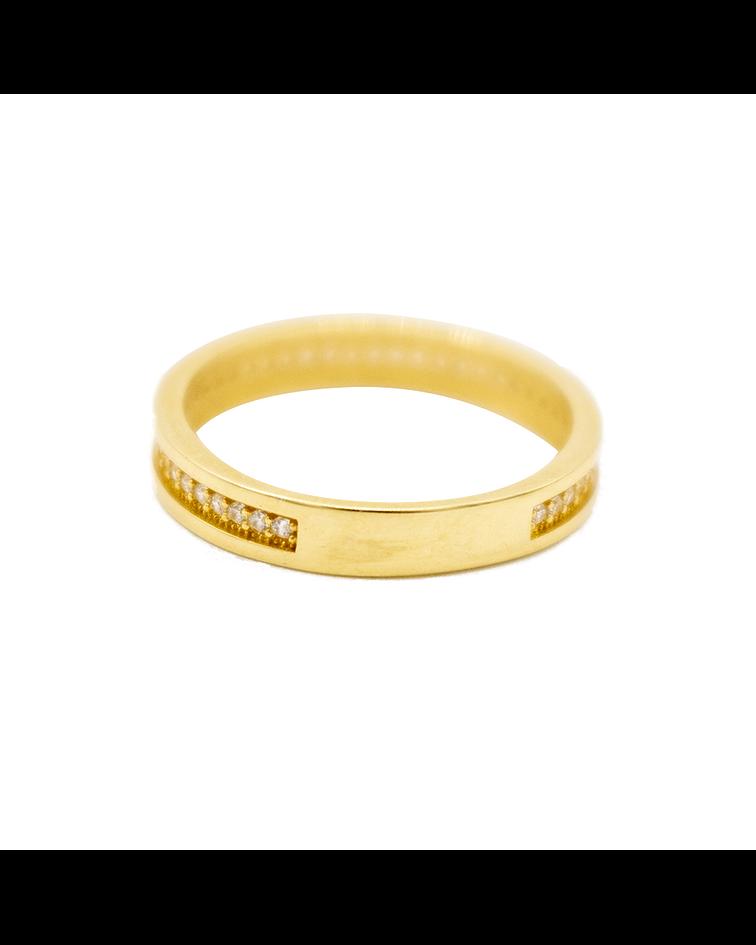 Anillo Oro de 18Kt. Cintillo Completo Circón