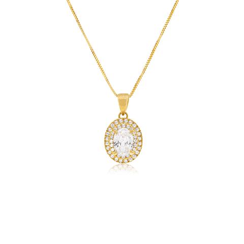 Collar Oro 18kt Circón Ovalado